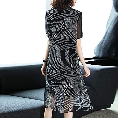 Femmes Bingqz Paragraphe D'été Nouvelle Tempérament Robe Lâche Long Noire Mince Mode Jupe L Imprimée qaA7ZnqpH