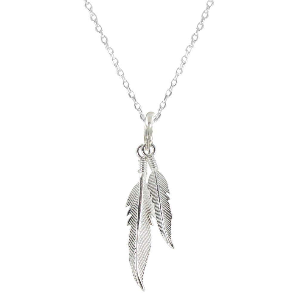Les Poulettes Jewels - Sterling Silver Necklace Two Feathers - size 45 cm