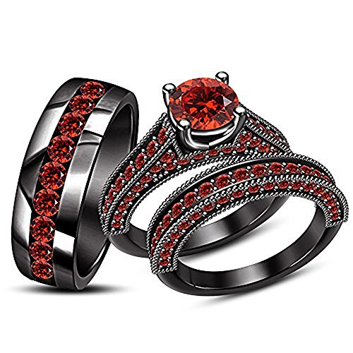 Decorative Trio (Decorative Rd Cut Red Garnet Stone His & Her Trio Ring Set In Black Gold Fn Ladies Bridal & Men Wedding Band Ring)