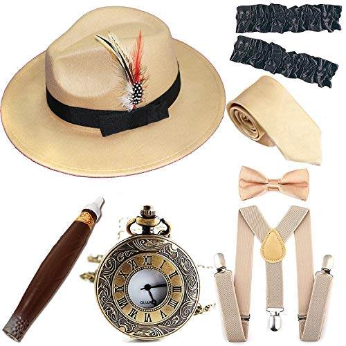 1920s Trilby Manhattan Fedora Hat, Plastic Cigar/Gangster Armbands/Vintage Pocket Watch,Champagne