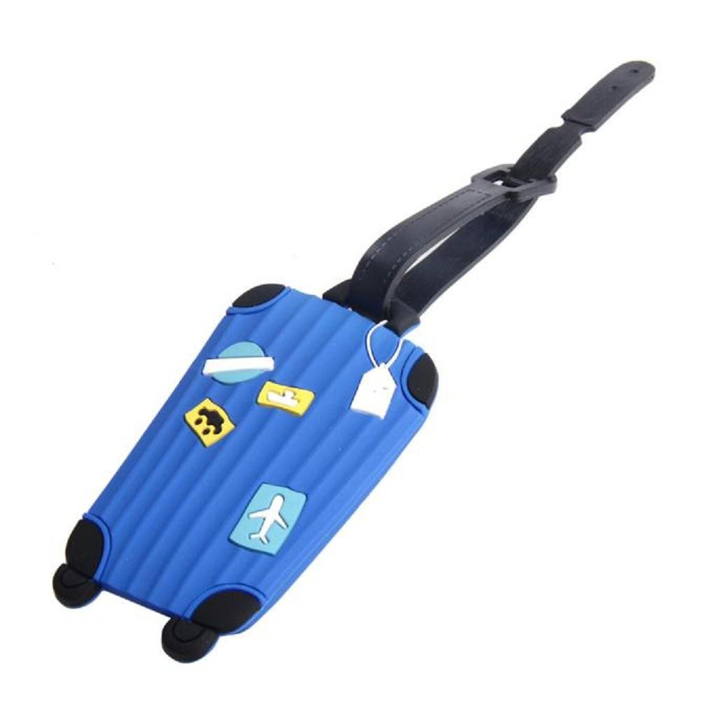 SUPPION Silicone Luggage Tags Label, Identifier ID Address Holder for Women Men Girl (Blue)