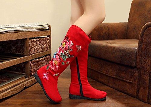 KHSKX-Nuevo medio tubo largo bordado paño paño viejo Beijing Zapatos Botas botas zapatos de suela plana estilo nacional chino viento único de botas gules