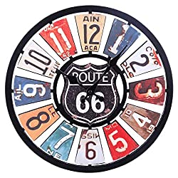 Haoun Wall Clock,13 2/5 Inch Retro Wood Wall Clock Silent Large Decorative Clock for Home Office (Route 66)