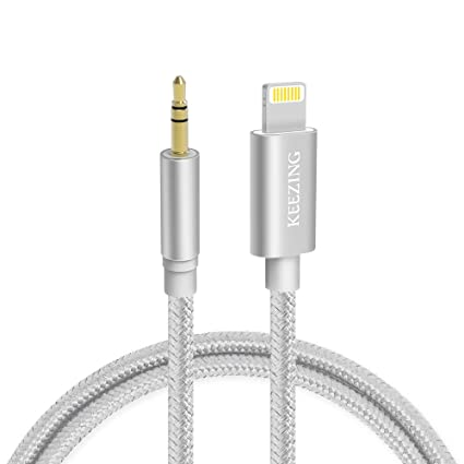 huge selection of b4f17 6cedb Aux Cable for car,KEEZING Aux Cord Compatible with iPhone 7/8/X/Xs/Xr /iPad  /iPod 【Nylon Braided】 3.3ft 3.5mm Male Audio Adapter for Car Home ...
