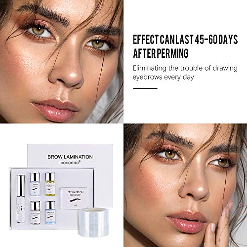 BROW LAMINATION KIT, PROFESSIONAL EYEBROW LIFT KIT, EYEBROW POMADE - EASY TO USE, LONG LASTING, PERFECT FOR FULLER MESSY DOWNWARD EYEBROW MAKEUP, EYEBROW SALON AT HOME, COMES WITH Y COMB AND FILM