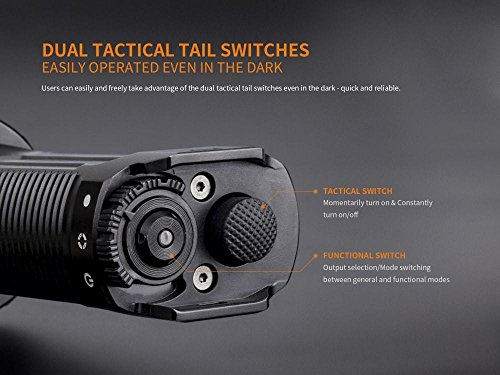 FENIX TK35 Ultimate Edition UE 2000 Lumen LED Tactical Flashlight with 2 X Fenix 18650 Li-ion rechargeable batteries, 4 X EdisonBright CR123A Lithium batteries, Charger bundle by EdisonBright (Image #4)