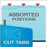 "Pendaflex Pressboard Fastener Folders, Letter Size, Light Blue, 1"" Expansion, 1/3 Cut, 25/BX"