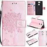 Sony Xperia XA2 Wallet Case, UNEXTATI Leather Flip Cover Case with Kickstand Feature for Sony Xperia XA2 (Rose Gold #13)
