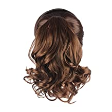 WeKen Women Hair Ponytail Clip in Hair Extension Short Curly Drawstring Synthetic MW02 Light Brown (#2/30)