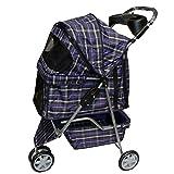 Blue plaid 3 Wheels Pet Dog Cat Stroller w/RainCover