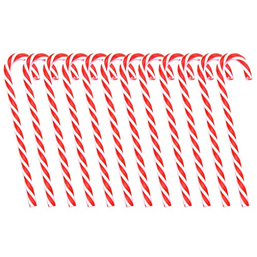 Personalized Candy Cane Ornament (12 Pack Christmas Party Hanging Decorations Plastic Candy Cane Ornaments, 6 inch)