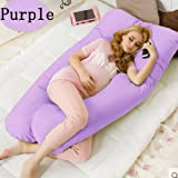 Comfortable U Shaped Pillow Body Support Pregnancy Maternity Pillow Baby Feeding Support Idea for Side Sleeping (4-7 days arrival) By PJ (Purple, 51.2 30 '' Comfortable)