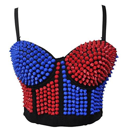 Glitter Corset (BSLINGERIE Madonna Style Metallic Studs Bustier Bra Corset Top (XL, Blue & Red))