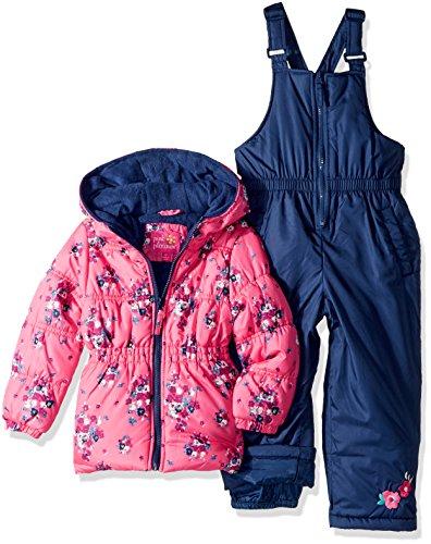 Pink Platinum Little Girls' Printed Super Snowsuit, Knock Out Pink, 6X