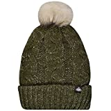Skats Olive Thinsulate Lurex Cable Knit Fur Pom Beanie Hat - One Size
