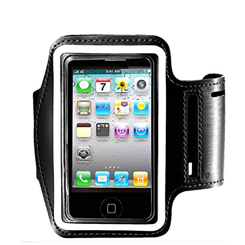 Water Resistant Cell Phone Armband Case for iPhone X Xs Max, XR, 8 Plus, 7 Plus, 6 Plus, 6S Plus, Samsung Galaxy S9, S8 Plus, A8 Plus, Note 4/5/8 with Adjustable Band & Key Holder (Black)