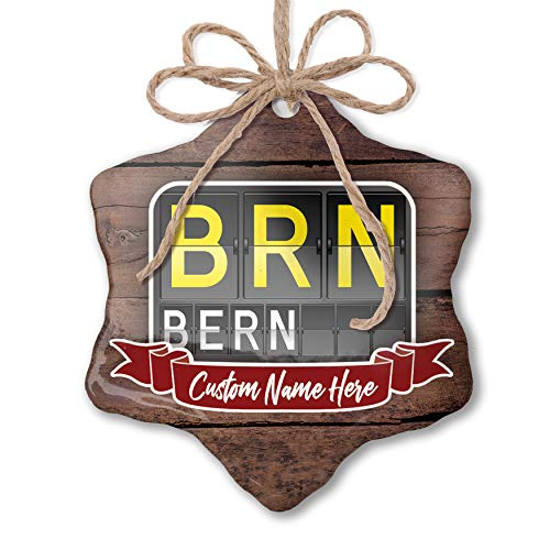 NEONBLOND Custom Family Ornament BRN Airport Code for Bern Personalized Name