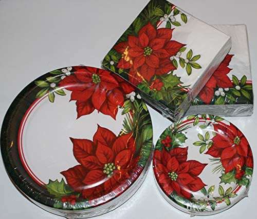 - Christmas Paper Plates - Scarlet Poinsettia Dinner and Napkin Party Pack - Serves 55 - Includes 55 (10.25