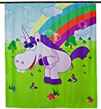 Shower Curtain with Comic Motif - Colorful 'Drunky Unicorn' Design 200 x 180 cm - Shower Curtain as a Gift - Grinscard