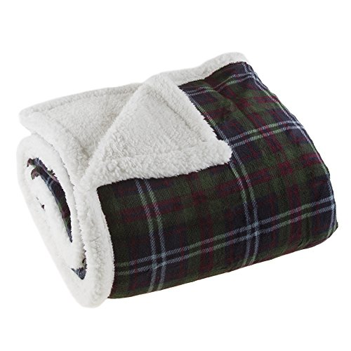 Lavish Home 61-00004-G Fleece Sherpa Blanket Throw - Plaid Green/Red
