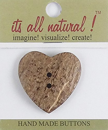 Coconut Buttons - Handmade Natural Coco - 40x42mm - Heart Shape Design - (Handmade Coconut Button)