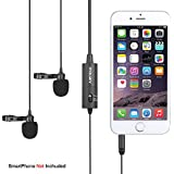 Dual-Head Lavalier Microphone, Mouriv CM202 Hands Free Clip-on Lapel Mic with Omnidirectional Condenser for Camera,DSLR,iPhone,Android,Samsung,Sony,PC,Laptop