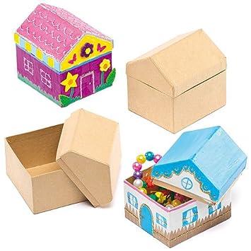 Baker Ross Cajitas en forma de casita para pintar y decorar. Manualidades creativas fiestas infantiles (pack de 4).: Amazon.es: Juguetes y juegos