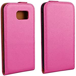Calans Samsung Galaxy S6 RL Leather Flip Case Cover With Screen Protector - Hot Pink