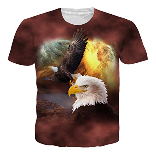 Leapparel Unisex Men and Womens 3D Print Short Sleeve Vintage Tee Shirt Top With African Eagle Design Brown - 3 Day Usps Tracking