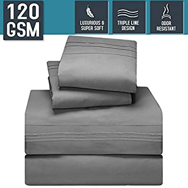 Bed Sheet Set, Queen Size, Gray, Super Soft 120 GSM - Anti Odor Treatment - Corner Elastic Strap for a Snug Fit, Matching 3 Line Embroidery on Pillowcases and Flat Sheet - Nestl Bedding