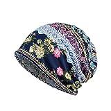 PIKAqiu33_Women Hat Winter Autumn Knit Hat Button Strap Slouchy Beanie Snow Cap (Blue)