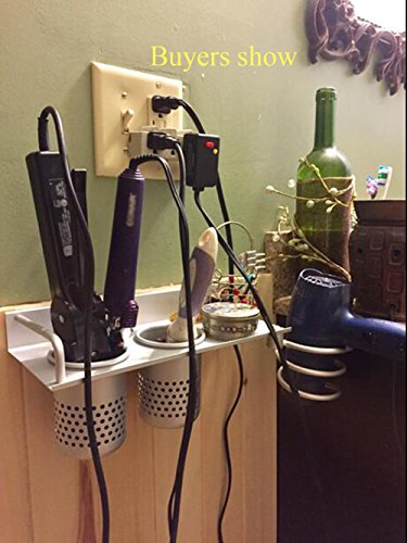 Wall Mount Hair Dryer Hanging Rack Organizer, Aluminum Ha...