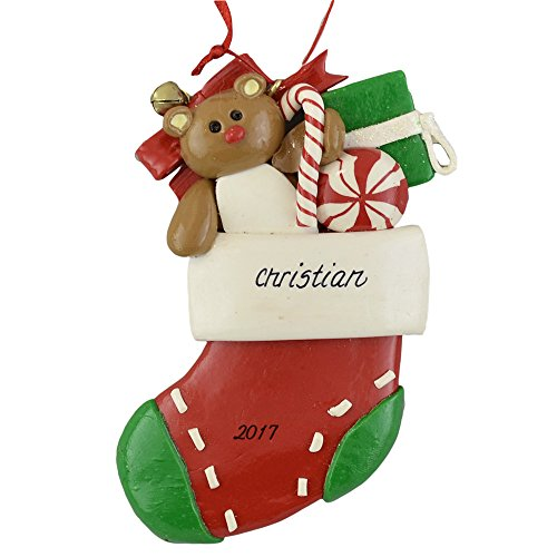Ornament Personalized Name (Calliope Designs Red Stocking with Bear and Toys Personalized Christmas Ornament - 4.25