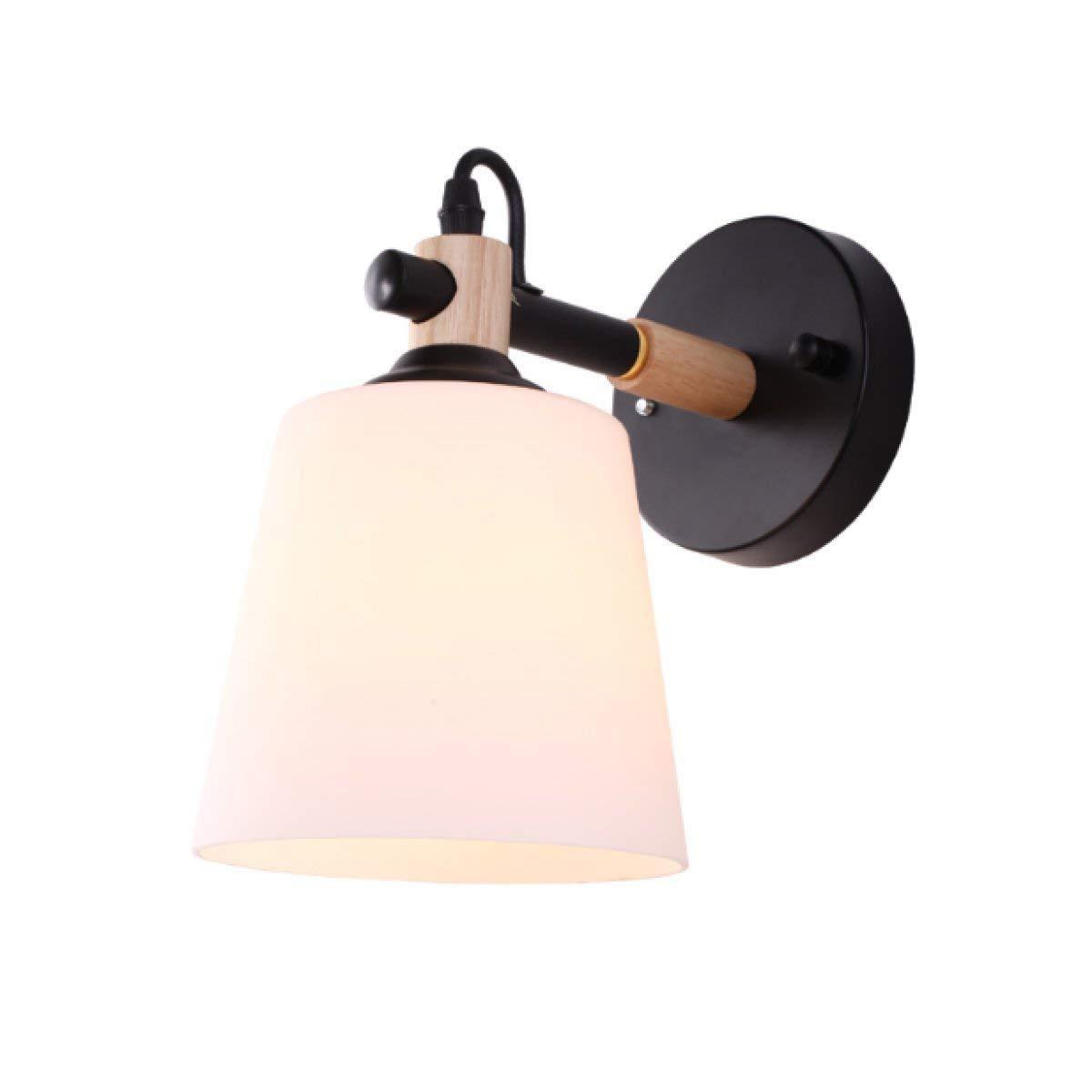 A HUAIX Home Moderne minimalistische Wandleuchte Nachttischlampe Gang Korridor Schlafzimmer Wandleuchte Glas Lampe Holz Wandleuchte (Farbe   A)