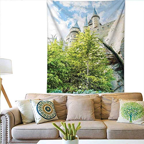 Anyangeight WizardPattern tapestryWitchcraft School Wizard Castle in Woods Replica in Japan Picture PrintGorgeous Tapestry 54W x 72L INCHGreen Blue Beige