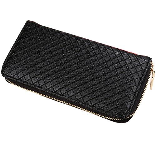 Cartera de embrague-All4you Women ' s Long Grid hebilla pu bolso de cuero titular de la tarjeta monedero (oro) Negro