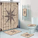 Philip-home 5 Piece Banded Shower Curtain Set Vintage Compass and Caribbean Central America map Decorate The Bath