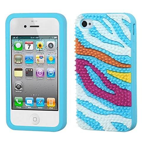 For APPLE iPhone 4/4S/4G Pastel Rubber Skin Case Cover Zebra Skin Spike/B-Blue (Rubber Spike Phone Case)