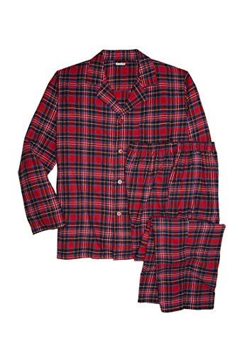 Kingsize Men's Big & Tall Plaid Flannel Pajama Set (Red Tartan Plaid,Tall - Xl)