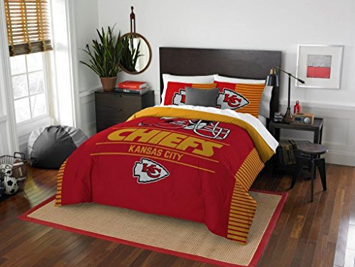 Chiefs Kansas Comforter City (Kansas City Chiefs - 3 Piece FULL / QUEEN SIZE Printed Comforter & Shams - Entire Set Includes: 1 Full / Queen Comforter (86