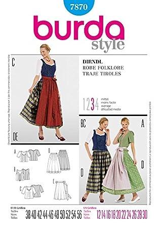 Burda Damen Schnittmuster 7870 – Dirndl Kleider Plus Größen: 12–30 ...