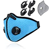 Novemkada Dustproof Masks - Activated Carbon Dust Mask with Extra Filter Cotton Sheet and Valves for Exhaust Gas, Pollen Allergy, PM2.5, Running, Cycling, Outdoor Activities (1 Set Blue, Dust Masks)