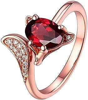 Daeou Anello aperto Rosa rubino intarsiato apertura anello in ottone placcatura oro anello allergia compleanno regalo Invia amico di famiglia
