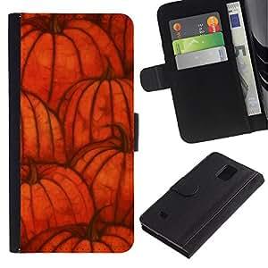KingStore / Leather Etui en cuir / Samsung Galaxy Note 4 IV / Otoño de Halloween naranja otoño;