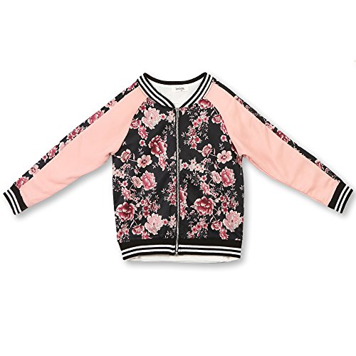 Speechless Big Girls' Sateen Bomber Jacket, Black Rose, Large by Speechless