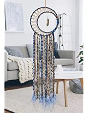 LOMOHOO Dream Catcher Gold Feather Pendant Handmade Traditional Dream Catchers Wall Hanging for Kids Bedroom Dorm Room Home Boho Decoration Bohemian Ornament Craft