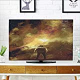 Auraisehome Cover for Wall Mount tv House Decor Cosmonaut Boy Standing Against Cosmos Nebula Themed Solar Artprint Tan Black Cover Mount tv W36 x H60 INCH/TV 65''