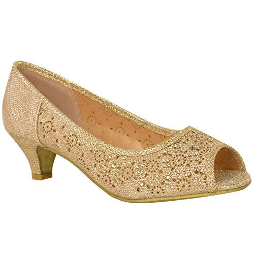 ns Low Kitten Heels Court Shoes Wedding Diamante Party Prom Size 8 ()