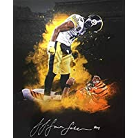 Juju Smith-Schuster Signed Custom Over Burfict Explosion 20X24 Canvas - Autographed NFL Art photo