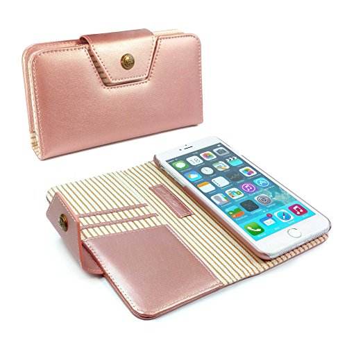 Personalised Alston Craig Genuine Leather Ladies Stripe Magnetic Purse Case Cover for Apple iPhone 8 - Rose Gold by Alston Craig